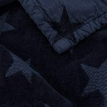 Couverture en chenille et coton bio Star Kadolis - 100x140 bleu marine