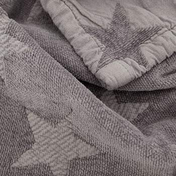 Couverture en chenille et coton bio Star Kadolis - 100x140 gris souris