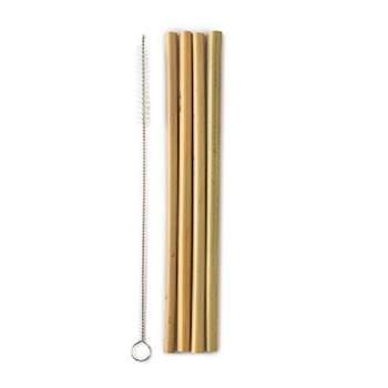 4 pailles en bambou et sa brosse de nettoyage Humble co