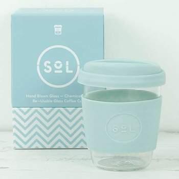 Mug café verre et silicone  SoL - Cool Cyan