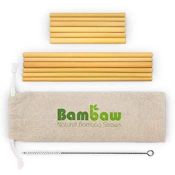 Lot de 12 pailles en bambou MIX + brosse de nettoyage Bambaw