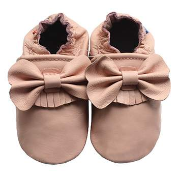 Chaussons cuir souple Noeud rose Carozoo