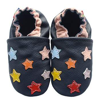 Chaussons cuir souple Etoiles multicolores Carozoo