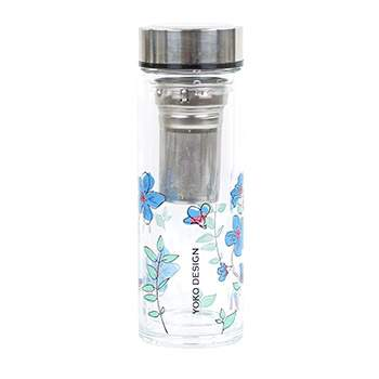 Théière en verre double paroi Yoko Design Fleurs bleues