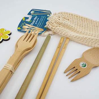 Kit manger/boire & pochon en coton bio Bambu