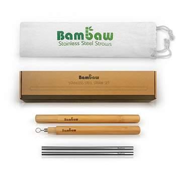 Set 4 pailles en inox & accessoires Bambaw