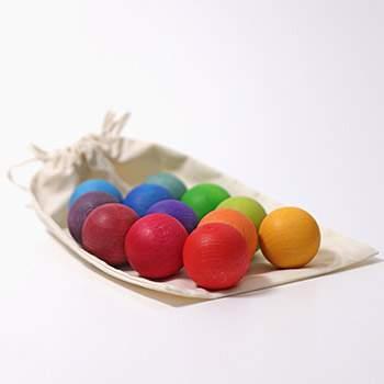 12 petites boules en bois Grimm's - Rainbow