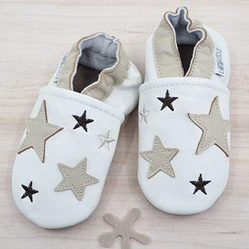 Chaussons en cuir Lookidz Beige stars