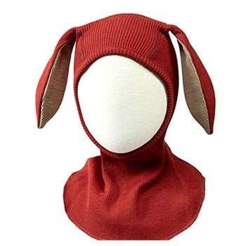 Cagoule en laine mérinos Bunny Manymonths Rooibos Red