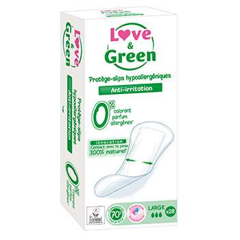 Protège-slips hypoallergéniques Large Love & Green