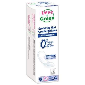 Serviettes MAXI Nuit hypoallergéniques 0% Love & Green