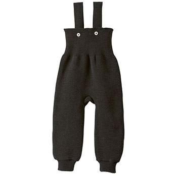 Pantalon à bretelles en laine merinos Disana Gris foncé