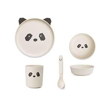 Coffret vaisselle en bambou Liewood - Panda crème