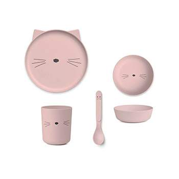Coffret vaisselle en bambou Liewood - Chat rose