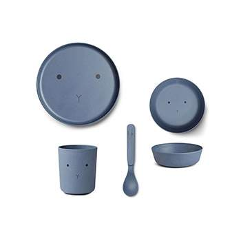 Coffret vaisselle en bambou Liewood - Lapin bleu