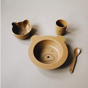 Coffret vaisselle en bambou bébé Liewood - Mr Ours moutarde