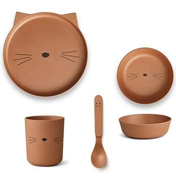 Coffret vaisselle en bambou Liewood - Chat Terracotta