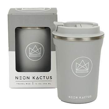 Mug isotherme en inox Neon Kactus - Gris