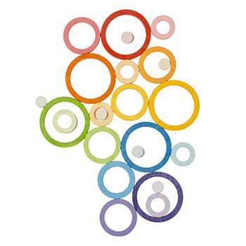 24 anneaux en bois rainbow multi-tailles Grapat