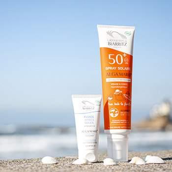 Spray solaire SPF50+ FAMILLE Bio + Fluide Après-soleil 30ml offert Laboratoire Biarritz
