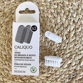 Pack de deux recharges pour brosse à dents écologique Caliquo