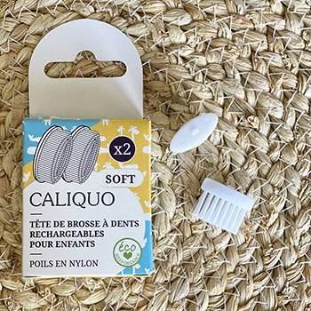 Pack de deux recharges souples pour brosse à dents enfant Caliquo
