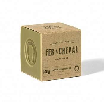 Savon de marseille cube olive 100g Savonnerie Fer à Cheval