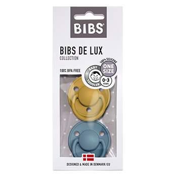 Pack de 2 tétines de Lux en silicone Bibs -Moutarde/pétrole