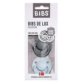 Pack de 2 tétines de Lux en silicone Bibs -Gris/bleu