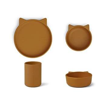 Coffret vaisselle en Silicone Liewood - Chat Moutarde