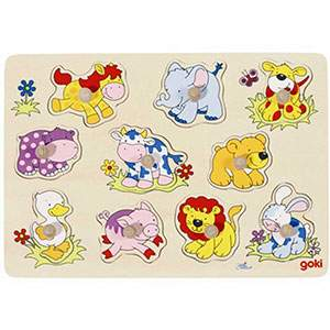 Puzzle à encastrer bébé animaux Goki