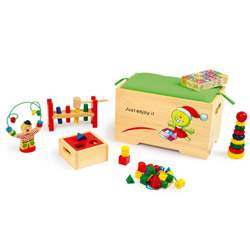 Coffre à jouets en bois (+6 jouets en bois) Legler