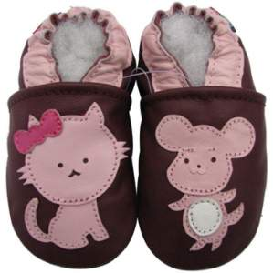 Chaussons cuir souple chat/souris Carozoo