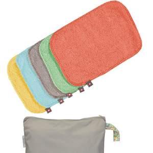 Lingettes lavables bambou pastels Close (lot de 10 + sac de stockage)