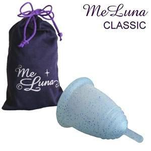 Coupe menstruelle Meluna tige - pailletée bleu