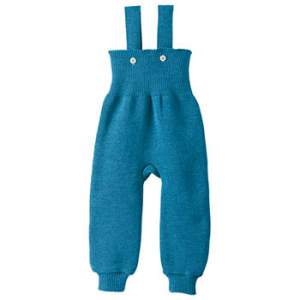 Pantalon à bretelles en laine merinos Disana Turquoise