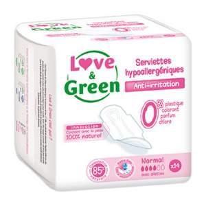 Serviettes Normales hypoallergéniques 0% Love & Green