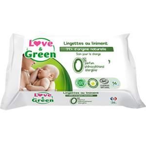 Lingettes jetables au liniment Bio Love & Green