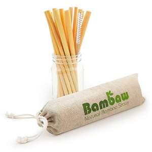 Lot de 12 pailles en bambou + brosse de nettoyage Bambaw