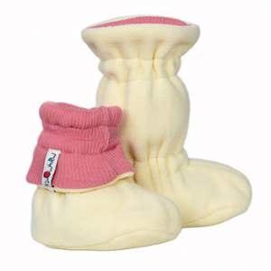 Chaussons de portage ajustables en laine/polaire Manymonths - Peach Bud
