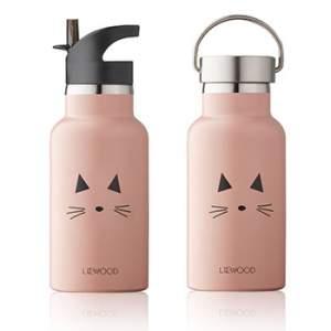 Bouteille d'eau/ gourde en inox Liewood - Chat rose
