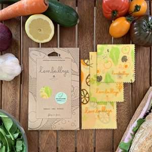 Lot de 3 emballages alimentaires réutilisables S/M/L L'embeillage - Fruits & légumes