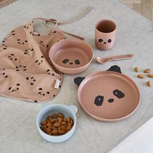 Coffret vaisselle en bambou Liewood - Panda rose toscane
