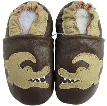 Chaussons cuir souple crocodile fond choco Carozoo