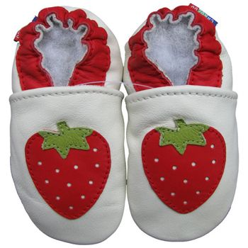 Chaussons cuir souple strawberry Carozoo