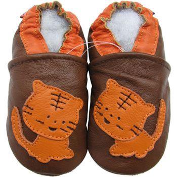 Chaussons cuir souple tigre fond chocolat