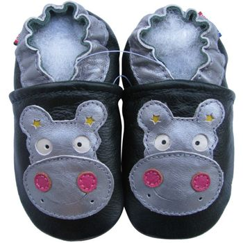 Chaussons cuir souple hippo argent/rose Carozoo