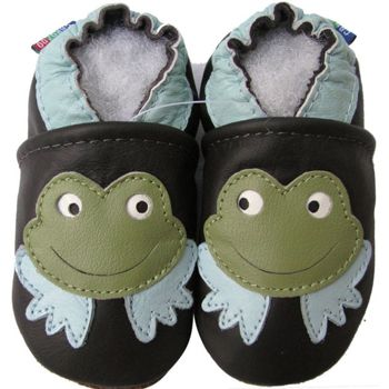Chaussons cuir souple grenouilles Carozoo