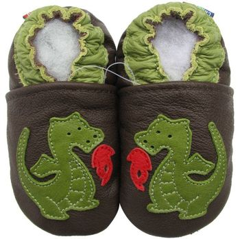 Chaussons cuir souple dragon vert Carozoo