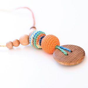 Collier d'allaitement / portage KangarooCare orange/vert